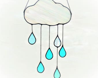 Stained Glass Puffy Cloud with Raindrops (#319)