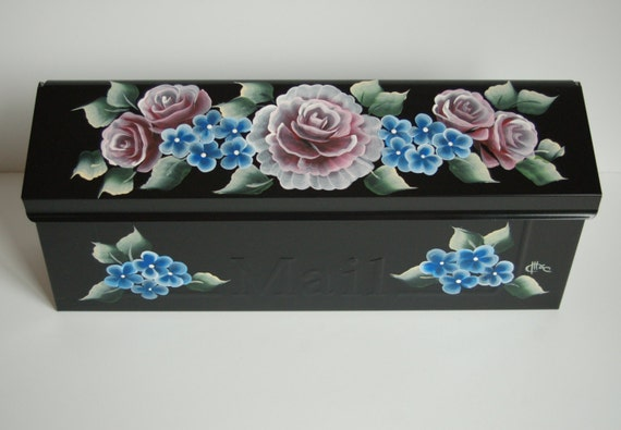 Hand Painted Wall Mount Mailbox Roses Flowers And Leaves