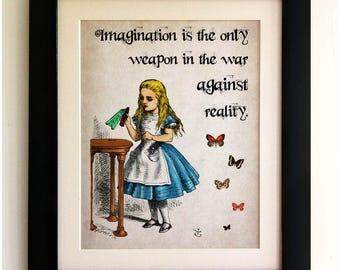 Alice in Wonderland Vintage Style Quote Print, *UNFRAMED* Shabby Chic, Wall Art Print, Fab Picture Gift