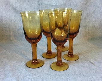 Vintage Amber Glass Wine Goblets, Set of 5