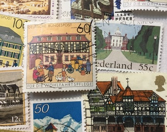 40 Postage Stamps, Architecture, Vintage Stamps, Buildings, Stamps, Used Stamps.