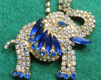 Outstanding 1960's Gold Tone Elephant Necklace with Blue & Aurora Borealis Rhinestones - Free Shipping