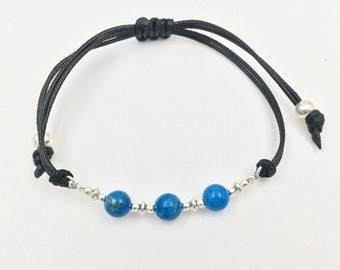 Bracelet in silver and african turquoise