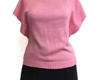 Vintage 1970s Bubble Gum Pink Angel Sleeve Sweater Pinup Girl Mad Men Sexy Secretary Sweater