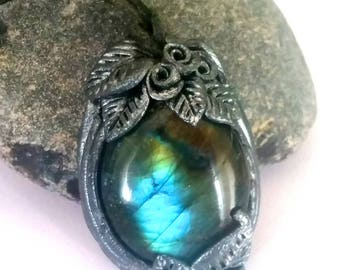 Labradoritkette, filigree decorated, rose with leaf, flower ring with Labradorite, hand made