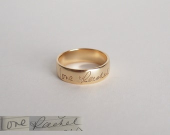 Actual Handwriting Ring for him / Custom personalized ring / Silver ring / Memorial jewelry / Mother's Day Gift - HR02B
