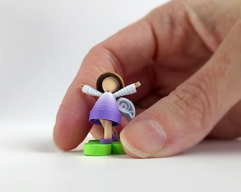 Paper quilling tiny JOY fairy, little purple fairy, happy gift for her, collectible fairy figurines, fairy decoration, gift to cheer up