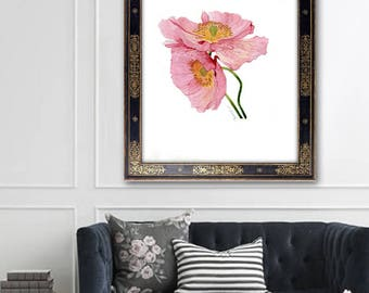 Poppy Water colour Art Prints Poppies Pink Watercolor Botanical Poster Flower illustration Floral Home Decor Painting DIGITAL DOWNLOAD