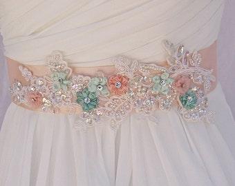 Bridal Sash-Wedding Sash In Vintage Pink, Mint, Ivory, And Peach, Pearls, Lace ,Crystals, Wedding Dress Sash, Bridal Belt,