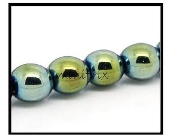 X 5 Green 10mm round Hematite beads.