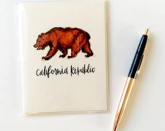 California Bear, Blank Notecard and Envelope, State Souvenir, Folded Stationery, Bay Area A2 Greeting Card, 4.25 in. x 5.5 in.
