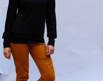 Turtleneck Long Sleeve in black, black Longsleeve, black blouse, balloon sleeves, turtleneck collar sweater
