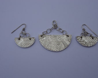 Half Moon Hand Crafted Sterling Silver Pendant and Earrings Set