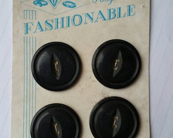 Fashionable buttons Vintage buttons Carded buttons Set of 4 Poly Pearl buttons 1960s Free shipping Canada