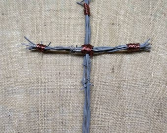 Barbed Wire Cross / Copper Cross / Barb Wire / Religious Cross / Country Cross / Western Cross / County Western Cross / Handcrafted Gift