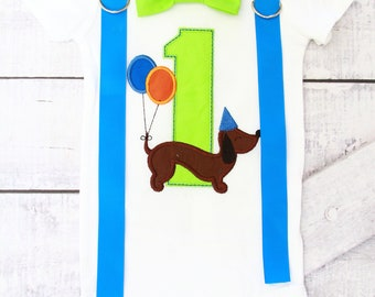 Boy first birthday dachshund puppy 1st birthday  bow tie puppy cake smash outfit Boy first birthday Boy number 1 puppy dog first bday