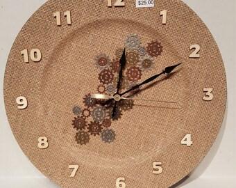 Clock / Burlap Gear Clock / Wall Art / Housewares / Novelty Clock