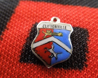 Enamel Silver Cliftonville Charm England Travel Shield Crest Silver Charm for Bracelet from Charmhuntress 04824