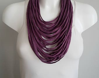 Necklace for women, Statement necklace ,women necklace, fabric necklace, multi strand necklace, purple necklace, spring scarf
