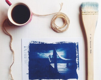 Handmade Art Print - Original Cyanotype 5x7 Beach Pier Picture OOAK Nautical Home Decor