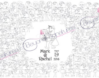 Unique Cartoon Fill me in Wedding Guestbook Poster, colouring in, digital