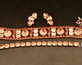 Vintage Alice Caviness Amber Rhinestone Bracelets and Clip Earrings