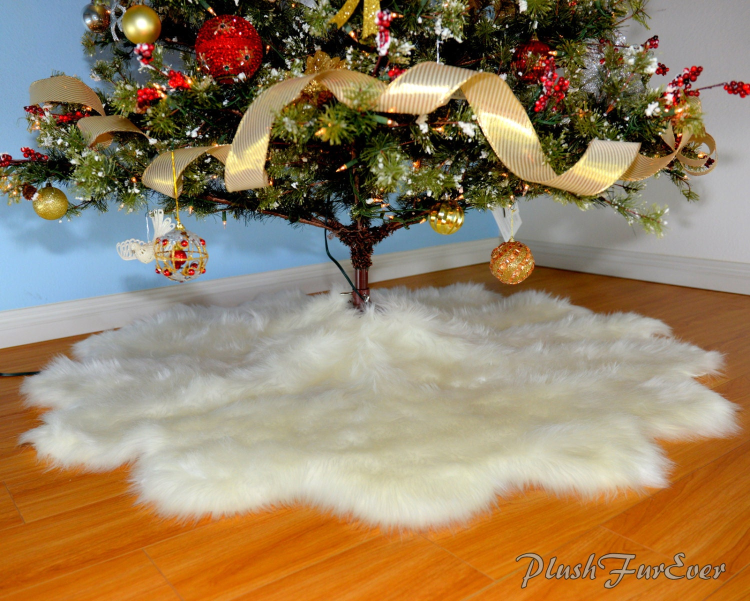 Promo 5' Or 60 Or 150 Cm Width Christmas Tree Skirts Faux
