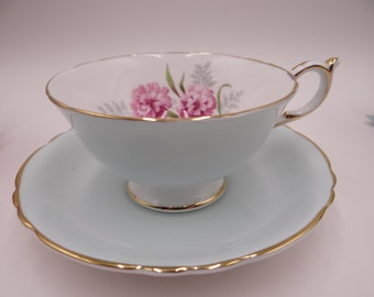 Charming 1950s Paragon Fine English Bone China Blue Floral Teacup and Saucer
