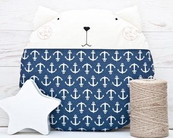 Nautical Nursery Decor, Blue Cat Pillow, Round Floor Cushion, Nautical Pillow, Baby Shower Gift, Anchor Pillow, Blue Pillow, Baby Gift