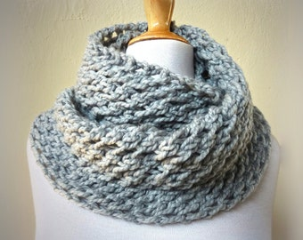 PEARL GREY infinity scarf / cowl -- wool blend, chunky, fashion accessories, gray, handmade