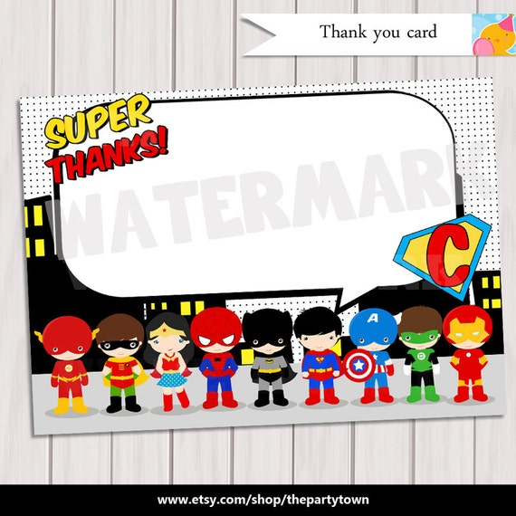 Pop art superhero thank you note card super hero birthday pop art superhero thank you note card super hero birthday party comics pop art personalized printable pdf bookmarktalkfo Gallery