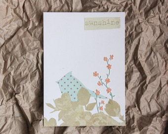 """Original Collage: """"Sunshine""""--Floral, Bird Collage--5x7"""" OOAK collage"""