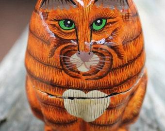 Vintage Orange Kitty Paper Mache Trinket Box