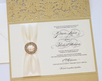 Lace Glitter Wedding Invitation | Laser Cut Pocketfolder | Elegant Wedding Invitation | Ivory & Gold | Vintage | Luxe Invite GRACIE Sample