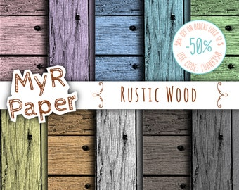 "SALE 50% Wood digital paper: ""RUSTIC WOOD"" wood background, wood texture, rustic wood, wood scrapbook paper in Pink, Yellow, Green, Gray"
