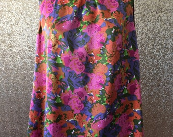 vintage pink floral silky tunic