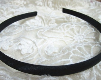 100pcs Black  plastic Headband With Cloth Covered 9mm Wide