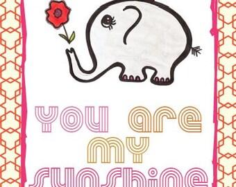 Printable 'You are my sunshine' Elephant set