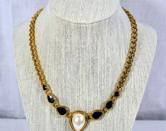 Vintage Monet Necklace With Center Faux Teardrop Pearl - Very Dark Red Opalescent Enamel Side Stones -  Gold Tone Chain