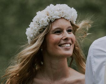Boho Wedding flower crown white cherry blossom roses