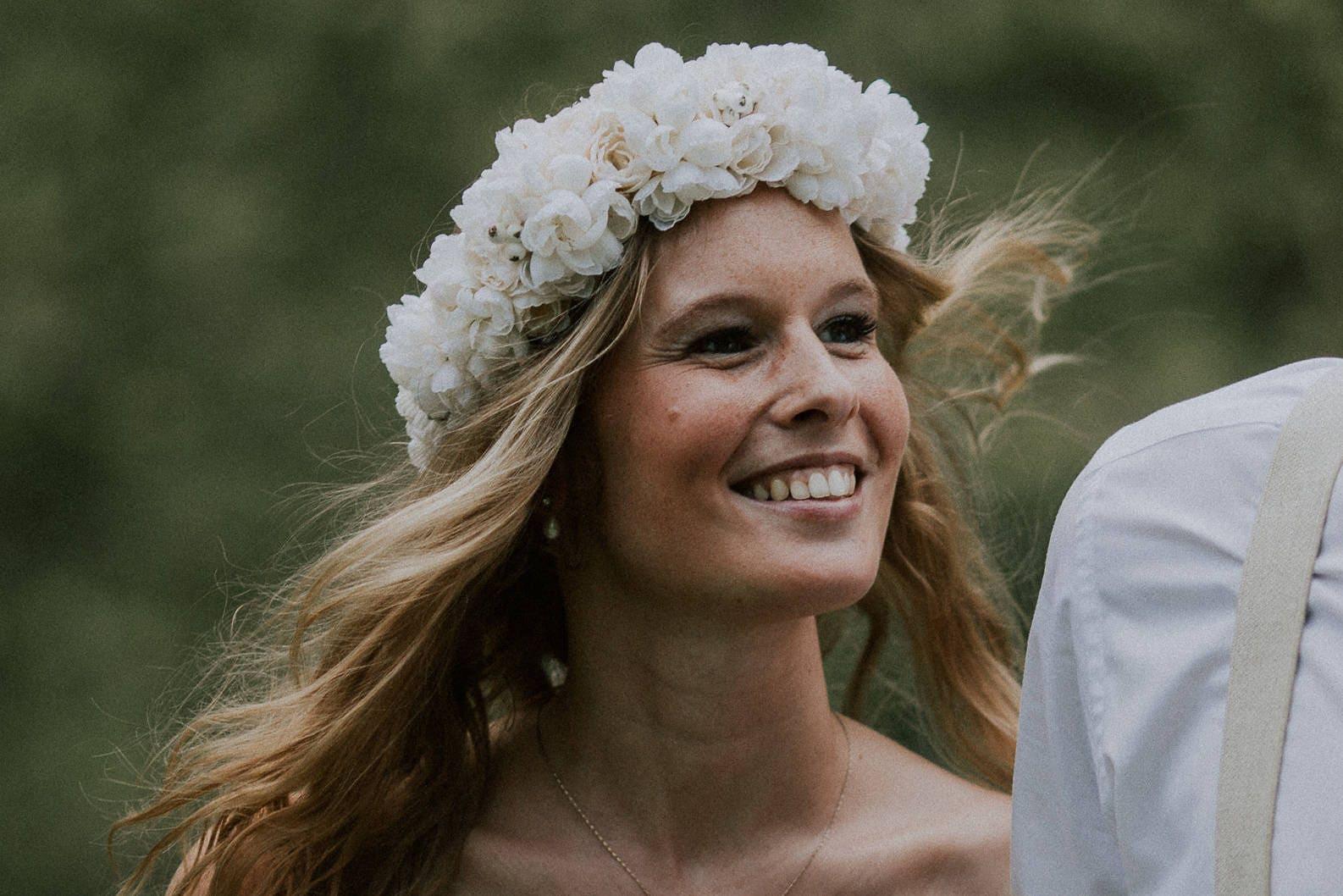 Blumenkranz Hochzeit Kirschblüten Rosen Haarkranz