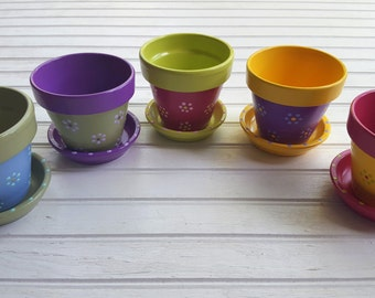 Painted Flower Pots - Herb Planters - Succulent Planters - Event Favor Pots - Garden Events - Seed Planting - Garden Weddings