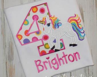 Rainbow Unicorn birthday shirt, Unicorn birthday shirt, Girl Birthday shirt, Girl Unicorn Birthday shirt, Sew Cute Creations