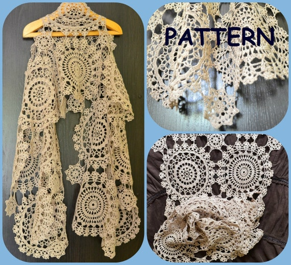 Crochet Scarf Pattern With Round Motives Three Crochet Doilies