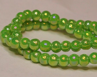 25 pcs 4mm Round Metallic Dark Lime Chartreuse Firepolished with Blue Glass Beads  LC/FB