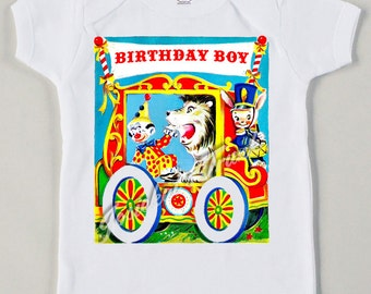 Vintage Circus Wagon Tee Custom Size Retro Baby Birthday Boy