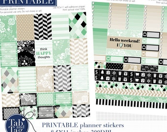 Planner stickers for MAMBI Happy Planner PRINTABLE weekly kit. Mint, black and beige pack. Full, half box, weekend banner.