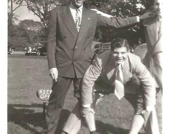 """Vintage Snapshot """"Just Foolin' Fun-Loving Guys Man Pulls Up Pants Legs Black & White Found Vernacular Photo"""