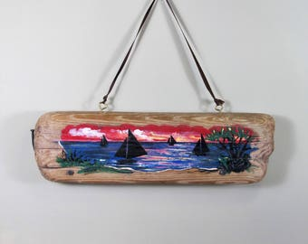 Lake Scene with Sailboats on Driftwood, Driftwood Hanging Art, Wall Hanging Driftwood Art, Driftwood Beach Decor, Driftwood Decor, Wall Art