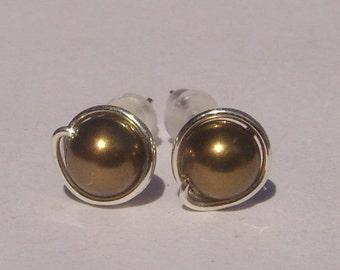 Small Antique Brass Pearl Stud Earrings (7mm), Swarovski Pearl Stud Earrings, Wire Wrapped Sterling Silver Stud Earrings, Stud Earrings